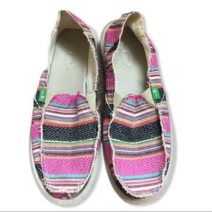 Sanuk Rainbow Striped loafer Slip Ons size 7
